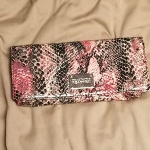 Kenneth Cole pink and black faux snakeskin wallet